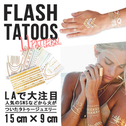 Gold Flash Tattoo タトゥーシール -K 15cm×9cm
